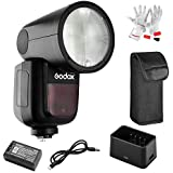 Godox V1-C Flash for Canon, 76Ws 2.4G TTL Round Head Flash Speedlight, 1/8000 HSS, 480 Full Power Shots, 1.5 sec. Recycle Time, Interchangeable 2600mAh Lithimu Battery, 10 Level LED Modeling Lamp