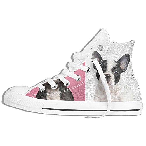 Classiche Sneakers Alte Scarpe Di Tela Antiscivolo Due Bulldog Francesi Casual A Passeggio Per Uomo Donna Bianco