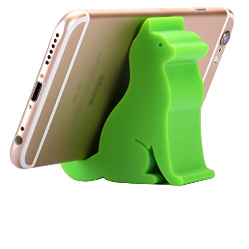 Plinrise Super Cute Phone Holder, Mini Cat Shaped Silica Gel Cellphone Stand, Animal Phone Mount for All Cellphone Free Your Hands (Green)