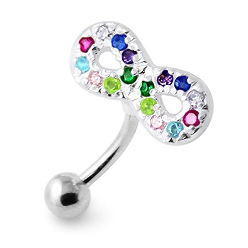 Multi Color Crystal Stone Trendy Infinity Sign Reverse Bar Design Silver with Stainless Steel belly button rings