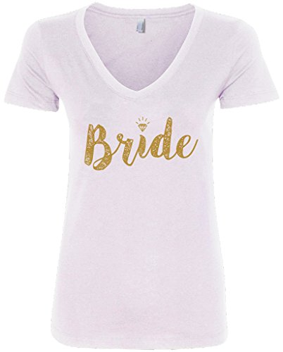 Threadrock Women's Bride Gold Script V-Neck T-Shirt S White