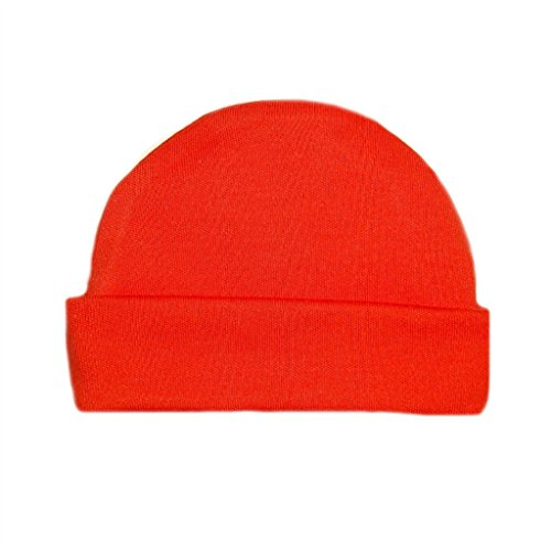 Jacqui's Unisex Baby Cotton Knit Capped Hats - Lots of Colors!, Micro Preemie, Orange