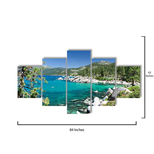 Star Layout - 5 Piece Canvas Wall Art - Lake Tahoe - Modern Home Decor Stretched and Framed Ready to Hang - 84