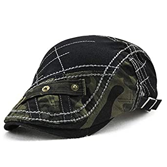 ef717f89 SPA Men Cotton Beret Cap Stripes Embroidery Camouflage Casual Sport Cabbie  Hats: Amazon.in: Clothing & Accessories