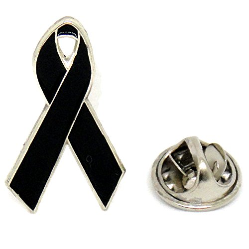 Official Ribbon Breast Cancer Violence Awareness Glitter Lapel Pin (Black)