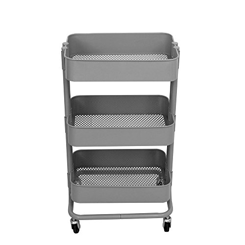 (ALEKO TUC01GY Lightweight Carbon Steel 3-Tier Rolling Utility Trolley Cart Gray)