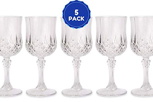 Plastic Crystal Like Elegant Wine Glasses 8 Oz Drinking Glasses Elegant French For All Occasions Set Of 5 Glass Cups ()