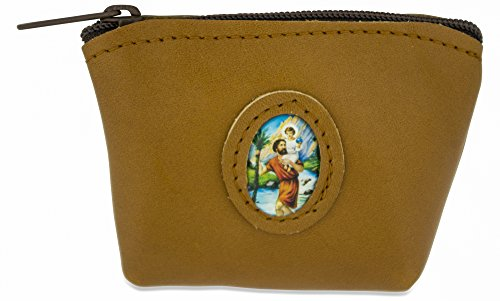 (Venerare Rosary Case in Italian Leather (Brown, Saint Christopher))