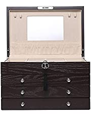 Large wooden jewelry box, jewelry box with mirror, 4-layer lockable jewelry box, gift box, desktop jewelry cabinet, used for earrings, rings, necklaces, bracelets, watches, glasses.