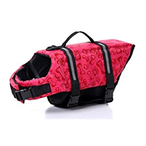 eBasics Dog life jacket swimming vest swimsuit with Reflective strips, Adjustable Belt life preserver buoyancy aid flotation suit for small Dogs XS chest girth: 14-16in dog weight 5 6 7 8 lbs