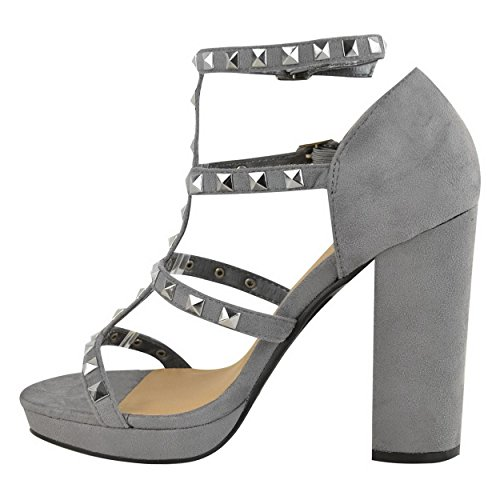 mujer tobillo Reino de Image gris Tamaño alto para tacón Sandalias tiras del Correa gamuza Damas Unido Srta de con Plataforma Tachonado Zapatos 5qXw4ZwH