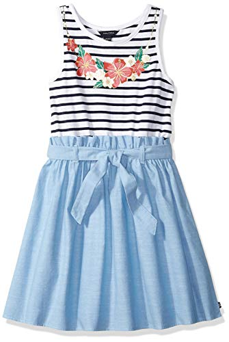 Nautica Girls' Denim Dress chambray stripe blue L12/14