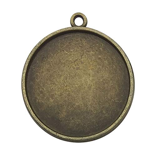 (30pcs 25mm Round Connector Pendant Trays, Double Sided, Antique Bronze Tone, Fit 25mm Cabochon, Blank Base Setting Bezel Frame Cameo (C6139))