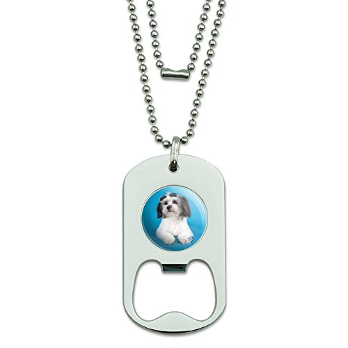 GRAPHICS & MORE Maltese Papillion Puppy Dog Cool Sunglasses Shades Military Dog Tag Bottle Opener Pendant ()