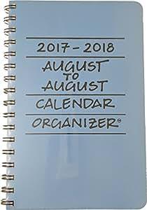 2017-2018 August to August Calendar Organizer- Sky (Light Blue)