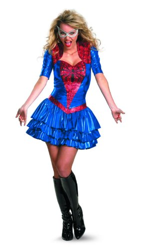 Child Deluxe Spidergirl Costumes (Disguise Women Of Marvel Spider-Girl Sassy Deluxe Costume, Red/Blue, Large/12-14)
