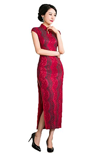 Women's Qipao Style China Lace Dress 0420 Sleeve Cap Cheongsam Angcoco Maxi FqxwdFa