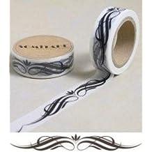 Washi Tape Large Black White Scroll Pattern 10m x 1.5 cm