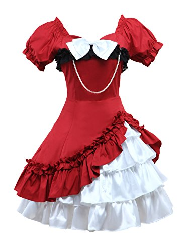 M4U Womens Short Sleeves Bow Chain Cotton Lolita Dress