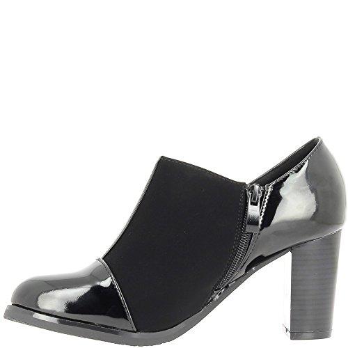 Tobillo botas mujer tacón negro grueso 8cm gamuza y cuero look