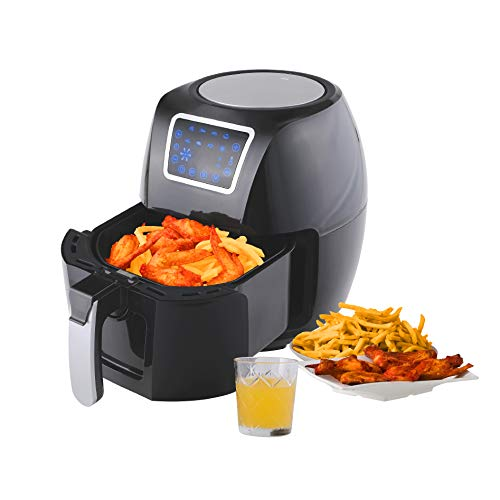 Kitchen Academy Air Fryer Power XL 5.8 Quart Airfryer Oven Oilless Cooker with Hot Air Circulation Tech for Fast Healthier Food, 8 Cooking Presets and Heat Preservation Function - LCD Touch Screen (Recipe Book included)