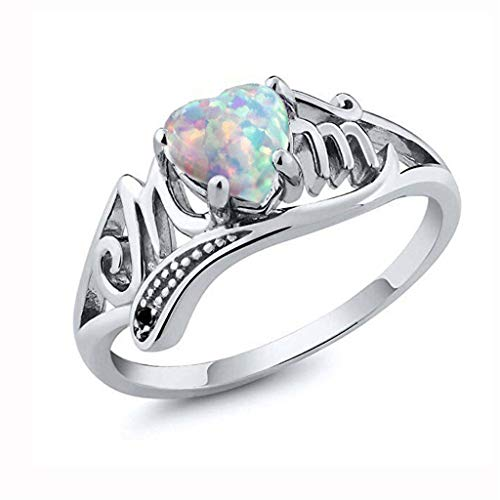 (Aunimeifly Women Girls Mom Ring Opal Heart Pattern Letter Ring Mother Best Gift for Mother's Day)