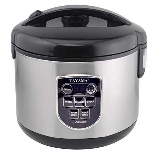 Tayama TRC-100 10-Cup Digital Rice Cooker and Food Steamer, Black