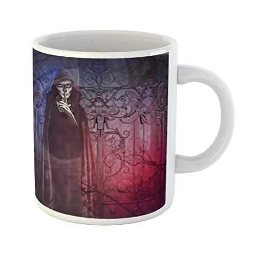 Tarolo 11 Oz Mug Coffee Mug Ceramic Tea Cup Halloween Demon of Darkness Manipulation for Afraid Black Angel Cemetery Costume Large C-handle Family and Office Gift]()