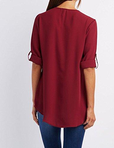Aoweite lgant Blouse Femme Rouge Tops Longues Chemise Col Vin V Manches Moussline Shirt RRz0U1rf