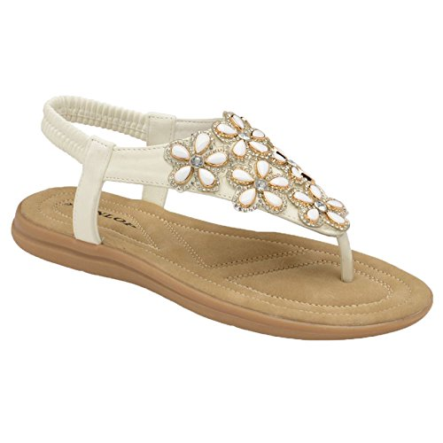 Folk Plage Plat Tongs White Été sangle T Élastique Dunlop Sandales String Femmes Clip Post Rond qE00wz