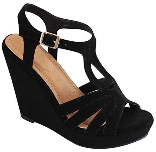 Cambridge Selezionare Donna Open Toe Caviglia T-strap Piattaforma Sandalo Con Zeppa Nero