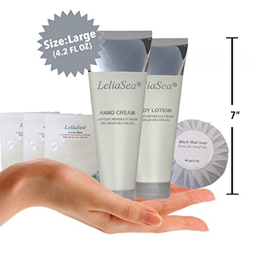 LeliaSea 6 in 1 Spa Gift Basket by Dead Sea Minerals • World Renown Luxury Hand Cream, Body Lotion, 3 Facial Masks and Mud Soap • Great Gifts for Women or Men by LeliaSea (Image #1)