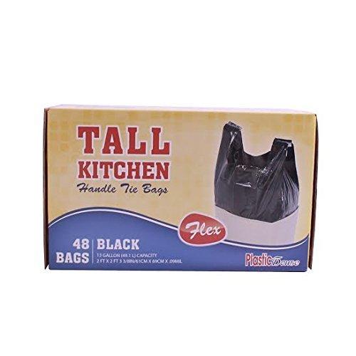 HANDLE TIE FLEX BLACK TALL KITCHEN TRASH BAGS, 13 GALLON, 48 CT