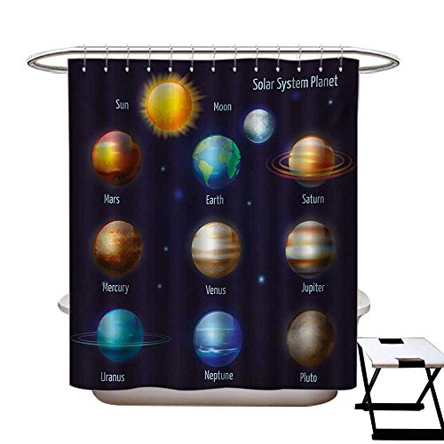 BlountDecor Educational Shower Curtains Fabric Extra Long Solar System Planets and The Sun Pictograms Set Astronomical Colorful Design Bathroom Set with Hooks W72 x L96 Multicolor Bb Set Solar System