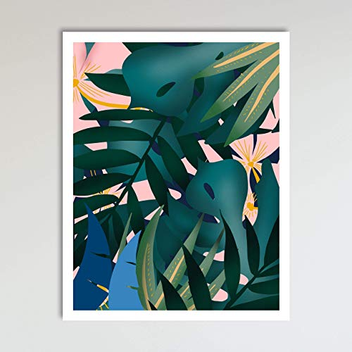 Botanicals and Tropical Leaves Boho Style Art Print Poster, Contemporary Farmhouse Beach Living Room, Kitchen Decor and Home Wall Décor, 11x14 inches, Unframed
