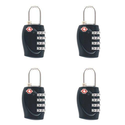 TSA Lock 4 Pack - Compatible Travel Luggage Locks, Inspection Indicator, Easy Read Dials (Black)