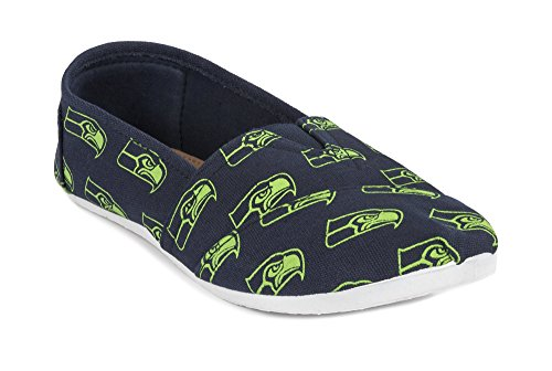 2015 NFL Womens Football Ladies Canvas Slip-On Summer Shoes - Pick Team (Seattle Seahawks, XL)