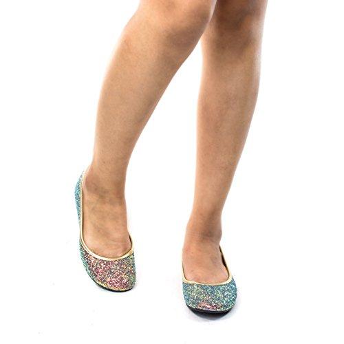 Ballerine Glitter Scintillanti In Metallo, Ballerina Moda Donna Blu Verde