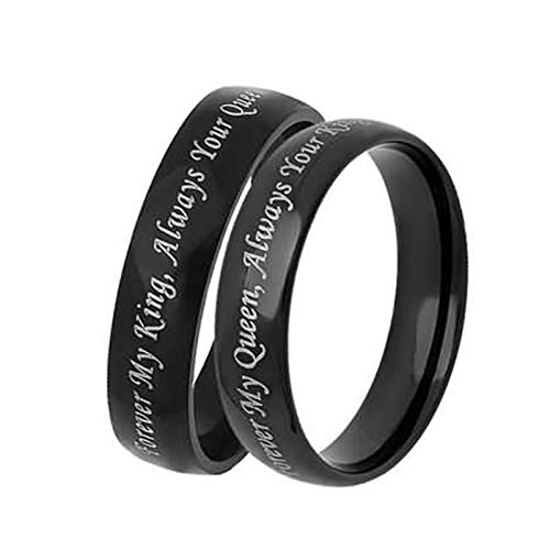 Bishilin 2 Pieces Stainless Steel Rings for Couple with Engraving Forever My King/Queen, Always Your Queen/King Width 6MM Wedding Anniversary Black Women Size 10 & Men Size 9]()