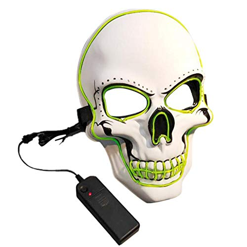 myonly Halloween Mask EL Cold Light Luminous Glowingl Fluorescent Mask Party LED Horror Mask Festival Funny Mask for Dancing Party Masked Ball Halloween -