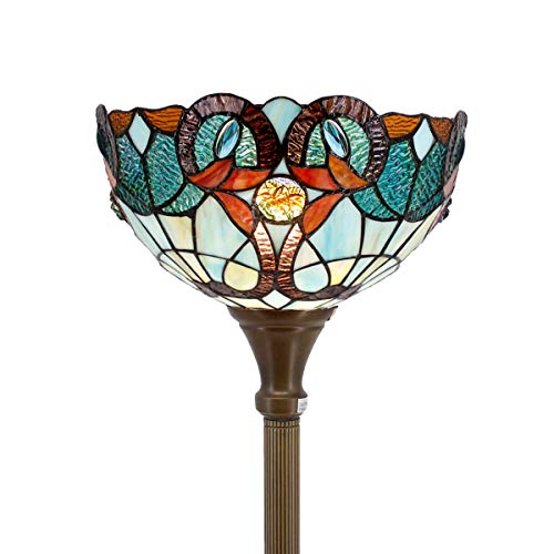 - Tiffany Style Torchieres Floor Lamp Table Desk Standing Lighting Wide 12 Tall 66 Inch Green Blue Floral Stained Glass Lampshade for Living Room Bedroom Antique Set S802 WERFACTORY