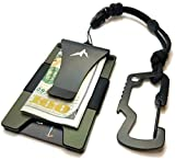 GUARDIAN RIDGE EDC Tactical Wallet Money Clip RFID Credit Card Holder w/Quick-Release Paracord Lanyard & Multi-tool Carabiner (Olive Drab Green) New Style 2019