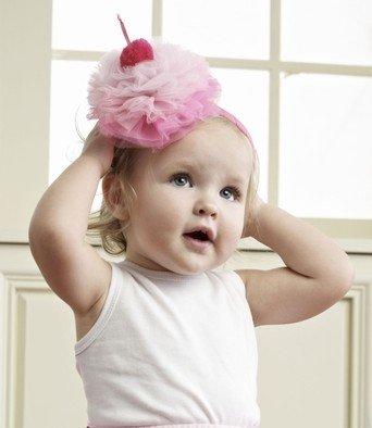 Mud Pie Baby-girls Infant Puff Headband, Light Pink/Hot Pink, 0-12 Months