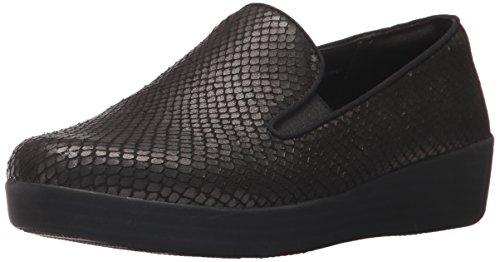 FitFlop Women's Superskate Loafer, Black, 7 M US