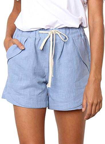 Dokotoo Womens Summer Fashion Drawstring Beach Linen Shorts Fashion Ladies Elastic Waist Casual Solid Comfy Cotton Linen Beach Shorts Pants Blue Small
