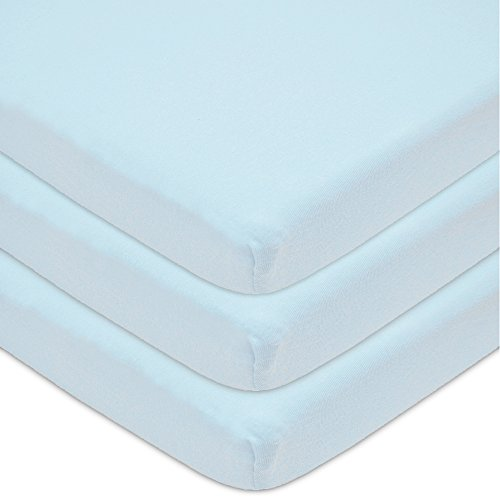 American Baby Company 3 Piece 100% Cotton Jersey Knit Cradle Sheet, Fitted, Blue, 18'' x 36'' by American Baby Company