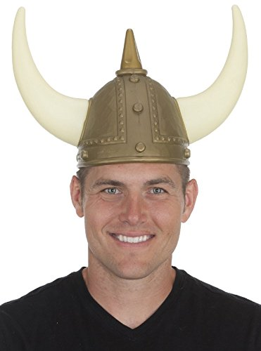 Jacobson Hat Company Men's Viking Helmet with Horns and Spike, Gold, One Size -