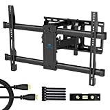Full Motion TV Wall Mount Bracket Dual Articulating 6 Arms Bears up to 132lbs for Most 37-70 inch TV with Tilt, Swivel and Rotation fit for LED, LCD, OLED and Plasma Flat Screen TV, Max VESA 600x400mm