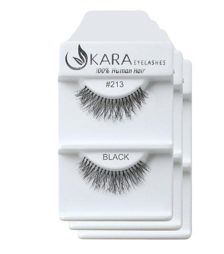 KARA Professional 100% Natural Human Hair Hand Crafted Eyelashes 3Pairs