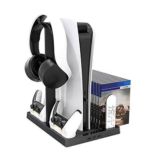 Vertical Stand with Cooling Fan Compatible with PS5 Digital Edition/Ultra HD Game Console, Including Dual Controller Charging Dock, Earphone holder, 2 USB Hubs and 15 Game Slots